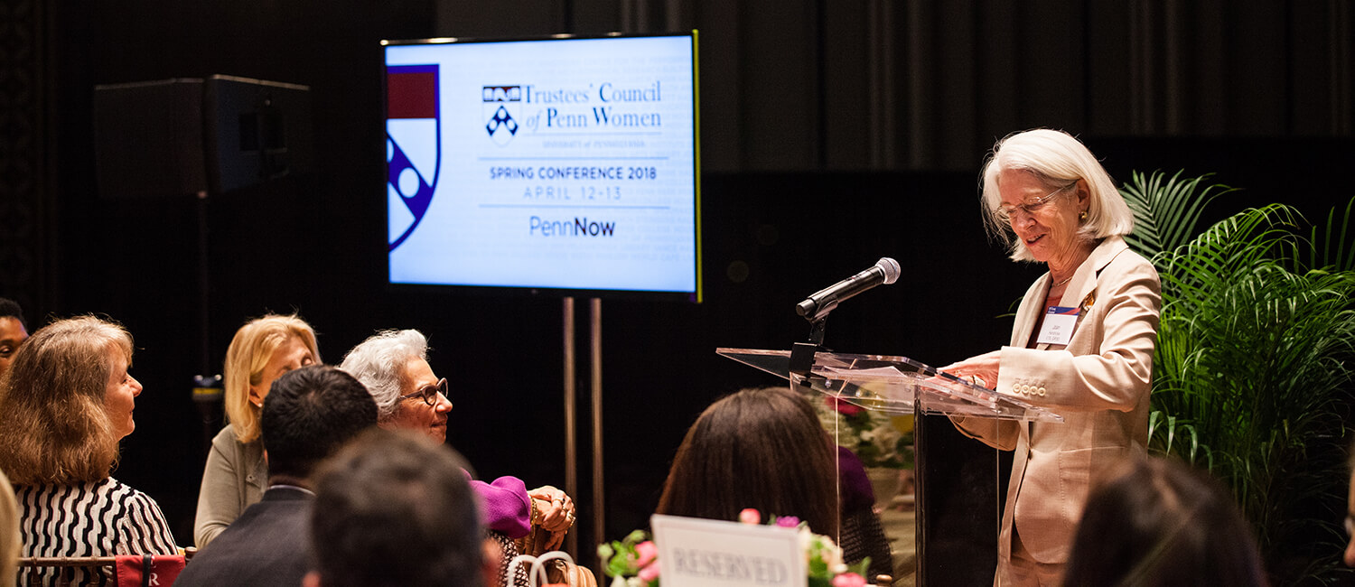 Dean Joan Hendricks speaks at the Trustees' Council of Penn Women luncheon. Photo by Eddie Marenco.