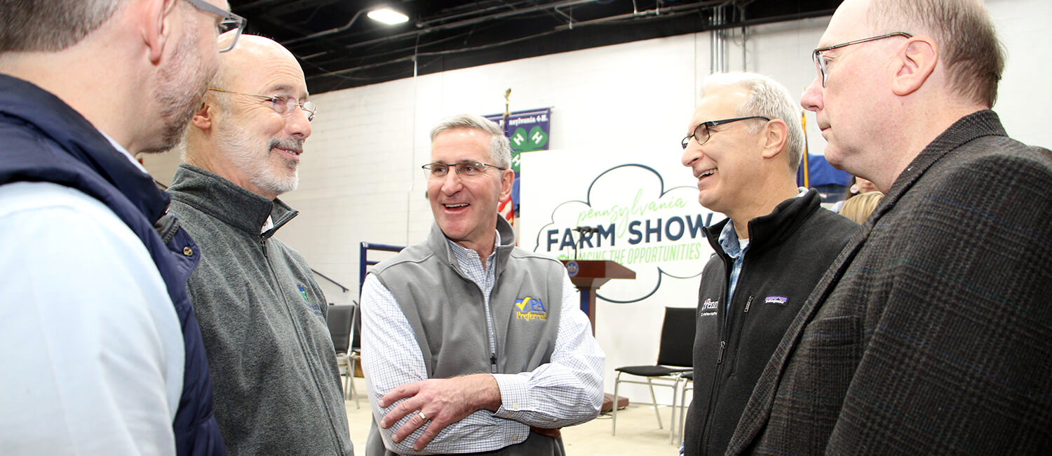 Penn Vet Dean Andrew Hoffman (second from right) discussed new initiatives and shared priorities in agriculture with Wolf (second from left), Redding, as well as Penn's Mike Smith and Penn Vet's Gary Althouse.