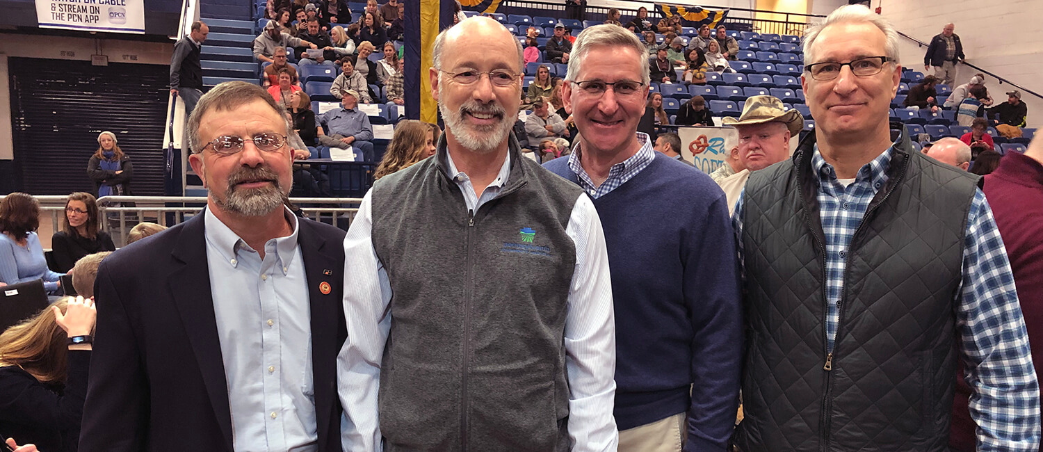 l to r: Rick Ebert, Pennsylvania Farm Bureau President; Pennsylvania Governor Tom Wolf; Pennsylvania Secretary of Agriculture Russell Redding; Penn Vet Dean Andy Hoffman.