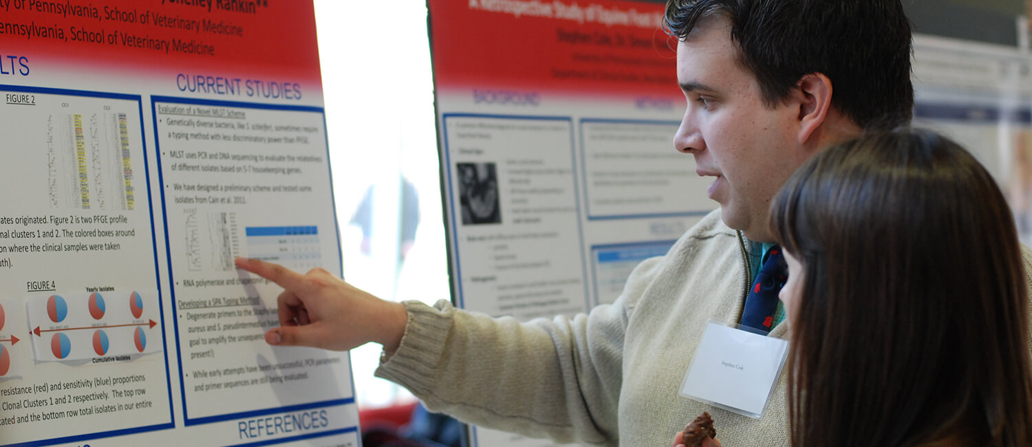 Dr. Stephen Cole, explaining a finding at Phi Zeta Research Day