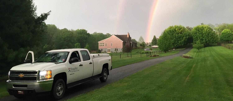 New Bolton Center Field Service truck on a farm