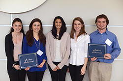 From left to right, the 2015 Student Inspiration Award winners are Christiana Fischer, V'17, Katherine Very, V'17, Meghana Pendurthi, V'17, Ashley Cherry, V'17, and Jonathan Madara, a 6th-year VMD-PhD student.