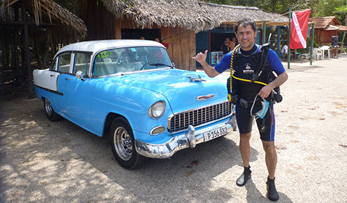 Dr. Oriol Sunyer of Penn Vet after a dive exploring Cuba's Bay of Pigs