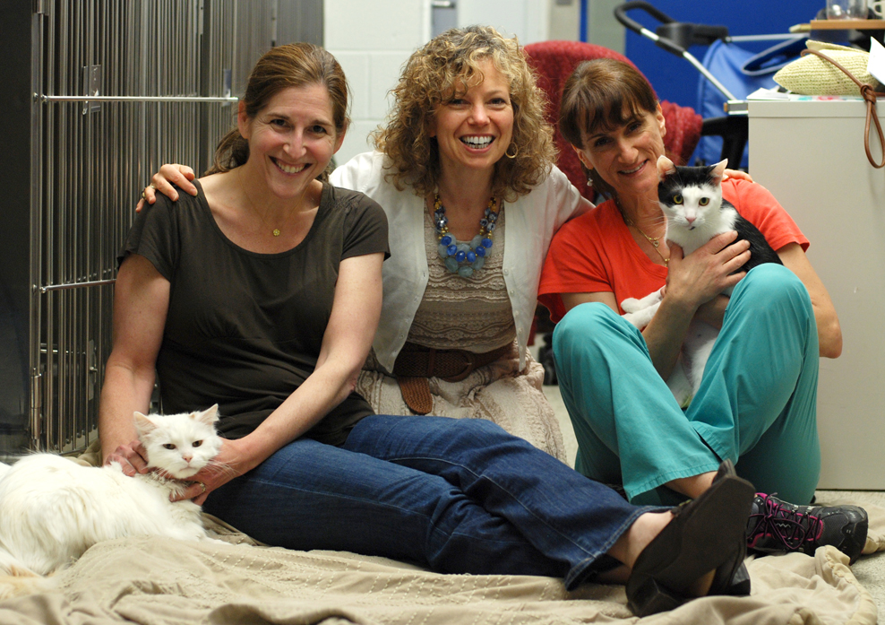 Dr. Lillian Aronson (with Amber), Susan Gabriel, and Lynn Beale (with Diamond)