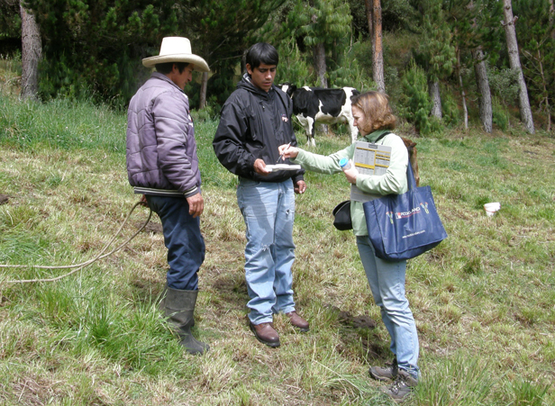 Laurel Redding meets with dairy farmers in Peru.