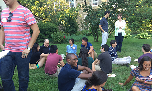 Dr. Lawrence (Skip) Brass, Professor of Medicine and Pharmacology in the Perelman School of Medicine, hosted a welcome picnic for incoming MD-PhD and VMD-PhD students.
