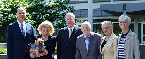 (From left) Wharton Dean Geoffrey Garrett, Shirley Hill, Vernon Hill, Dr. Robert Marshak, Margo Marshak, and Penn Vet Dean Joan Hendricks