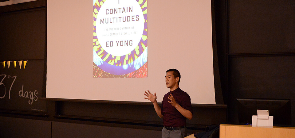 "Ed Yong gives his talk, ""I Contain Multitudes: The Microbes Within Us and a Grander View of Life."""