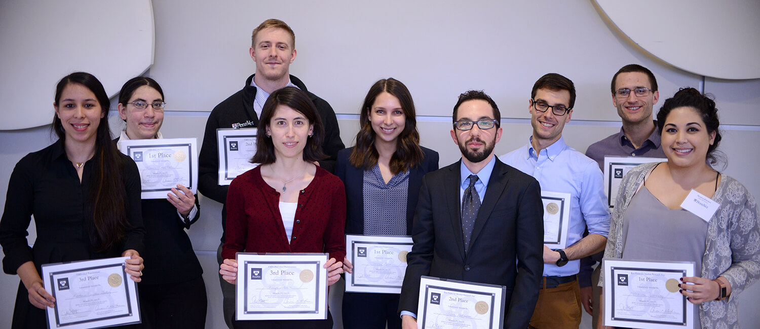 Student Research Day winners included Rebecca Rosenthal; Mariel Covo V'20; John Cain, V'20; Ian Penkala, VMD-PhD '21; Katherine Neupauer, V'21; Robyn Allen; Monica Jimenez; Pierce Nathanson; and Philip Hicks.