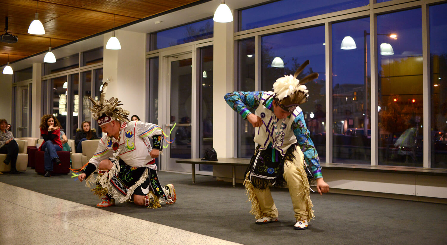 A traditional native dance culminates in these dynamic poses.