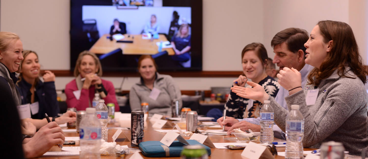 Emily Griswold, V'20 (foreground, right) participating in a student roundtable discussion hosted by Gail Riepe (background, left) for the clinical skills center.