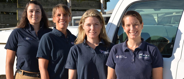 New Bolton Center's Equine Field Service Team: Drs. Jenn Linton, Liz Arbittier, Meagan Smith, and Ashley Boyle.
