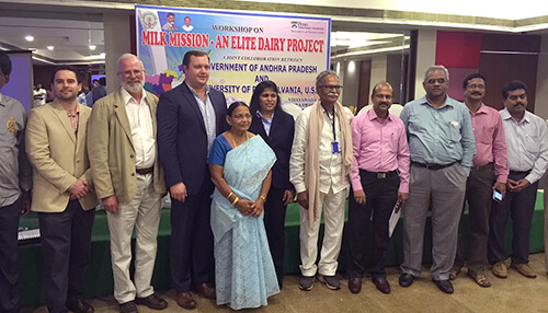 The Penn Vet and Andhra Pradesh teams pose following a Penn Vet-led workshop on improving productivity of dairy cattle in India.