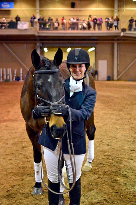 Monica with Tractor at the PA Horse Expo Most-Wanted Thoroughbred competition.