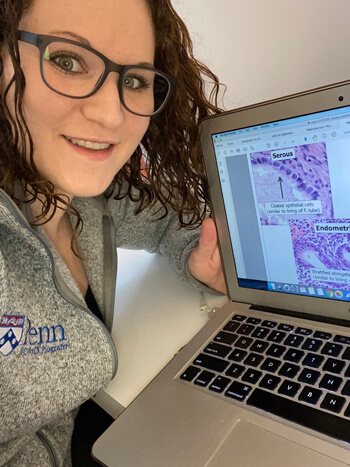 With all coursework now online, Noa Erlitzki, a first-year MD/Ph.D. student, and her classmates are absorbing clinical and preclinical information through pre-recorded lectures and small-group sessions. (Image: Courtesy of Noa Erlitzki)