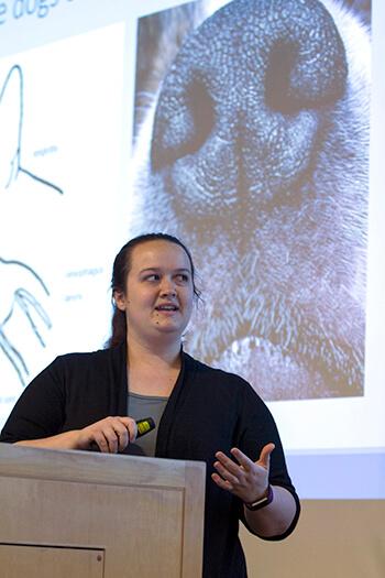 Jennifer Essler, a postdoctoral fellow at the Penn Vet Working Dog Center.