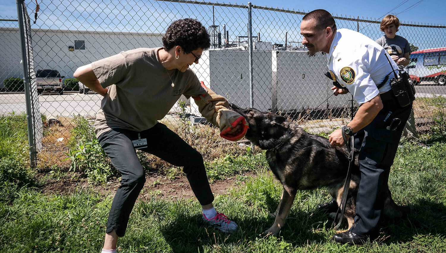 Otto offers an arm to a K9 for some bite work. (Image: Tracy Darling/Superfit Canine)