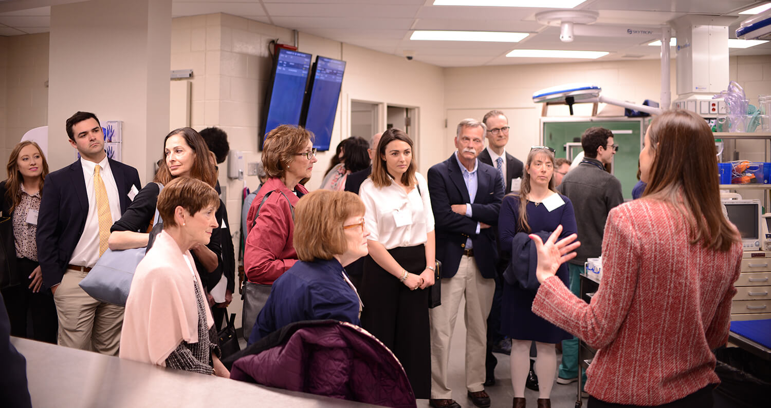 Guests receive a tour of the Richard Lichter Emergency Room.