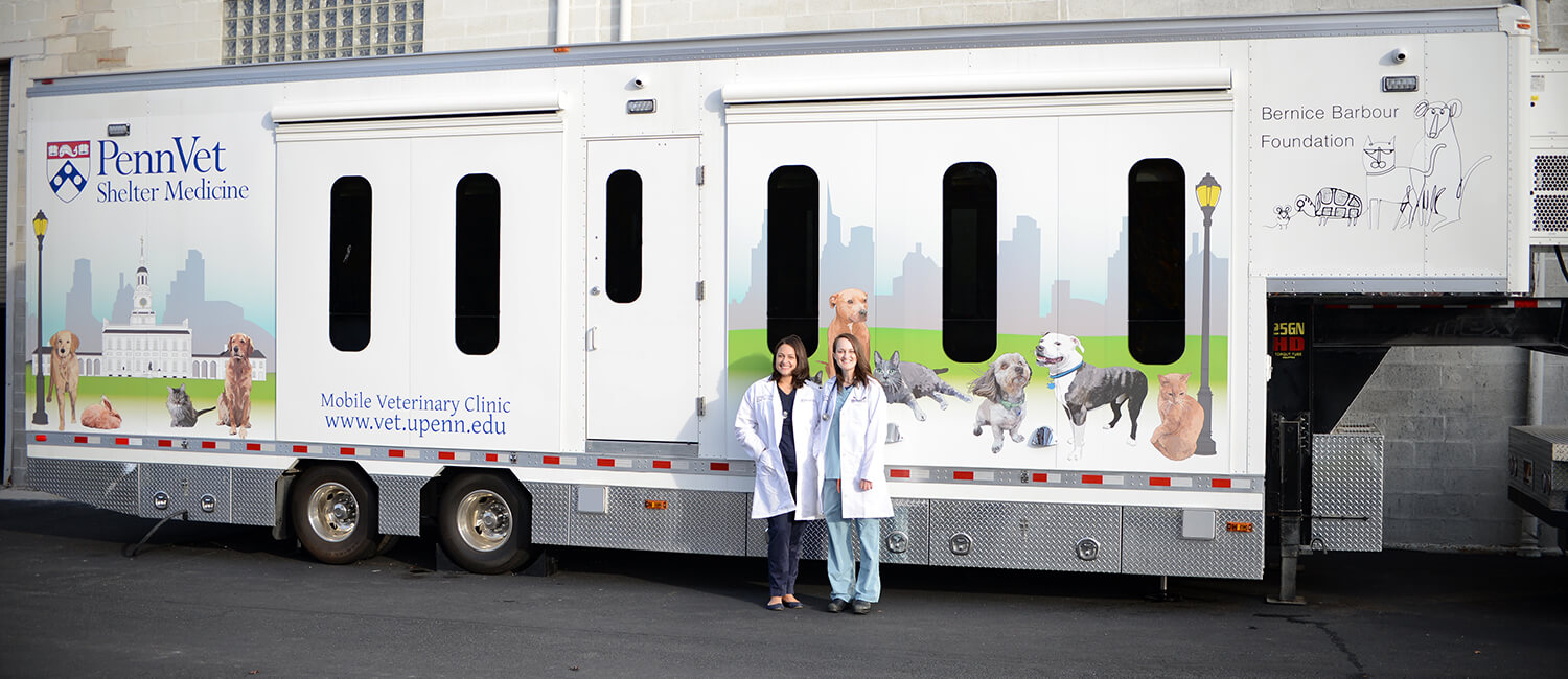A new mobile unit for Penn Vet's Shelter Medicine program is getting rolling this spring, bringing state-of-the-art veterinary care into animal shelters and underserved communities. Veterinarians Brittany Watson and Chelsea Reinhard led the program's efforts.