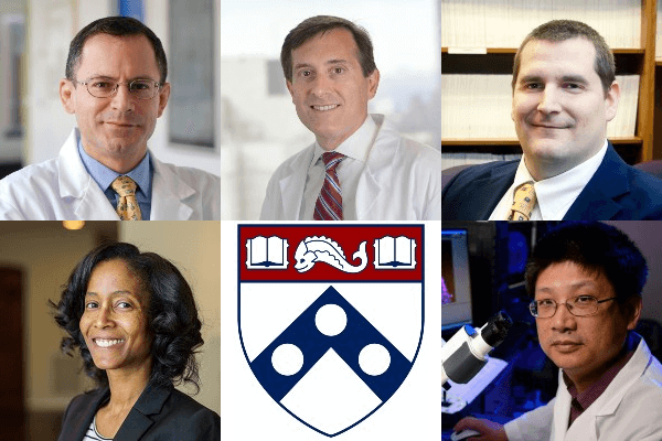 The National Academy of Medicine welcomed 100 new members in their class of 2020, including five from Penn: from top left: William Beltran, Ronald Paul DeMatteo, Matthew McHugh, Raina Merchant, and Hongjun Song.